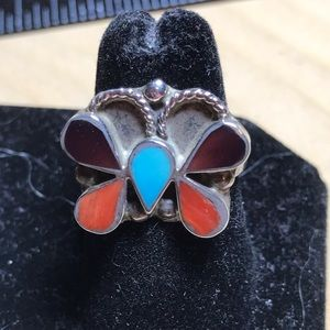 Southwestern old pawn sterling and gemstone ring.